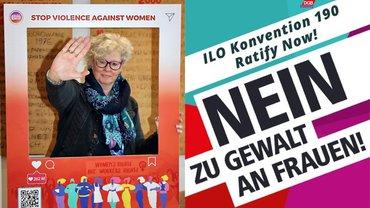 Stop Violence gegen Gewalt an Frauen Alexa Wolfstädter Aktion C190 ILO Ratify now